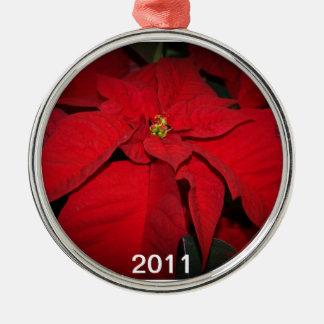 2011 Poinsettia Silver-Colored Round Decoration