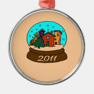 2011 snow globe Silver-Colored round decoration
