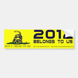 2012 Belongs To Us Bumper Sticker Car Bumper Sticker