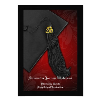 2012 Black and Red Tassel Charm 5x7 Graduation Announcements