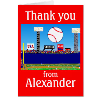 2012 Boys Baseball Personalized Thank You Notes