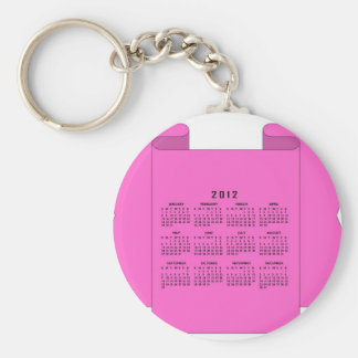 2012 Calendar Basic Round Button Key Ring
