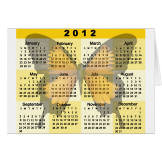 2012 Calendar Butterfly print Greeting Card