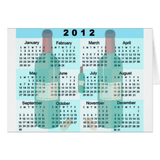 2012 Calendar with Champagne bottles print Card