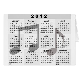 2012 Calendar with Musical Notes print