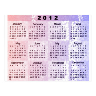 2012 Calendar with Stars in RedWhiteBlue Postcard