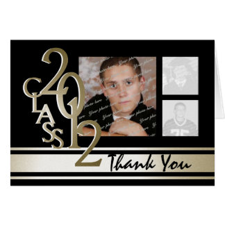 2012 Graduation Gold and Black Thank you Card
