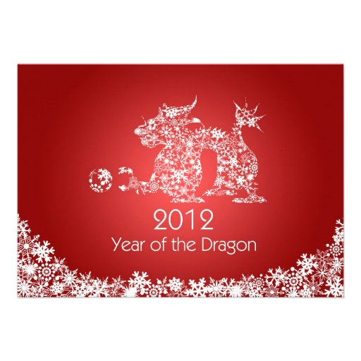 2012 Happy Chinese New Year Dragon Red Card Invitations