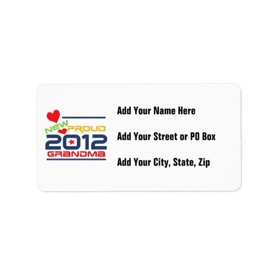 2012 Proud Grandma T-shirts and Gifts Label
