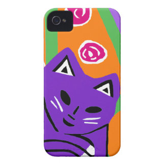 2012 Purple Cat Art iPhone 4S & 4 Case Gift iPhone 4 Covers