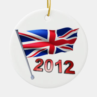 2012 with Britain flag Ceramic Ornament
