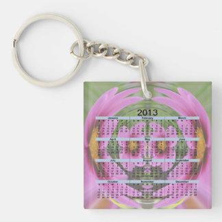 2013 Calendar Flower Globe Key Chain Acrylic Key Chains