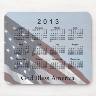 2013 Calendar God Bless America Mouse Pad