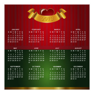 2013 Calendar with Gold Red Green Luxury Texture Poster