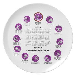 2013 Chinese Zodiac Happy New Year Calendar Plate