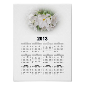 2013 Floral Wall Calendar - White on White Poster