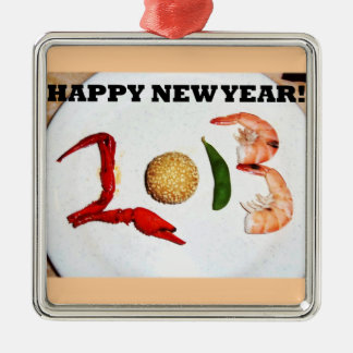2013 happy new year asian chinese Silver-Colored square decoration