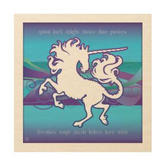 2013 Mink Nest Inspirational Unicorn Wd Painting Wood Print