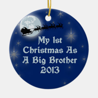 2013 My 1st Christmas As A Big Brother Round Ceramic Decoration
