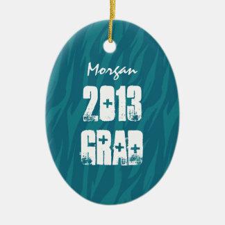 2013 or Any Year Zebra Stripes Grad Gift Idea Ceramic Oval Decoration