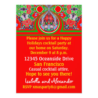 2013 Red Custom Christmas Holiday Party Invitation