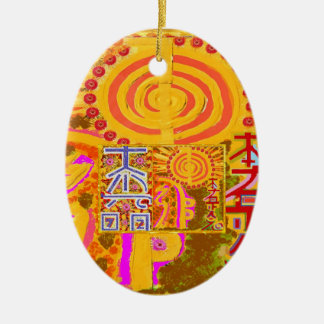 2013 ver. REIKI Healing MASTER Symbols Double-Sided Oval Ceramic Christmas Ornament