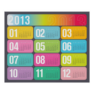 2013 Yearly Calendar wall poster