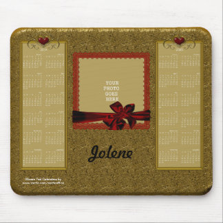 2014-2015 Calendar Mouse Pad GOLD with RED Hearts
