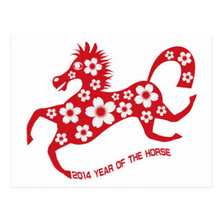 2014 Abstract Red Chinese New Year of the Horse Post Card
