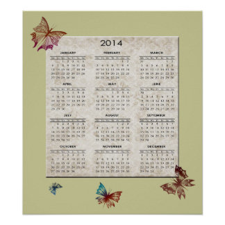 2014 Butterfly and Damask Art Calendar Poster