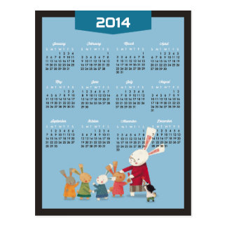 2014 Calendar - Happy New Year Bunny Rabbit Family Postcard