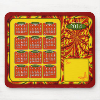 2014 Calendar Mouse Pad Abstract Butterfly