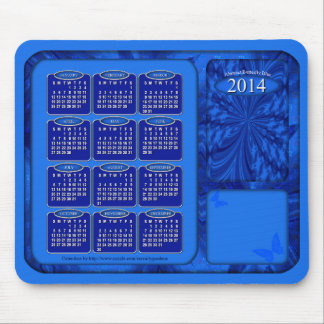2014 Calendar Mouse Pad Abstract Butterfly Blue