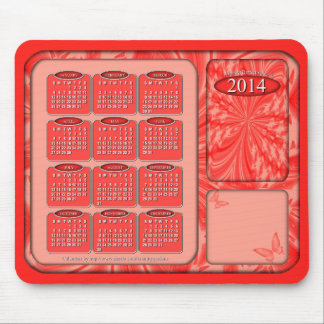 2014 Calendar Mouse Pad Abstract Butterfly Peach