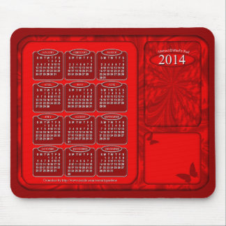 2014 Calendar Mouse Pad Abstract Butterfly Red
