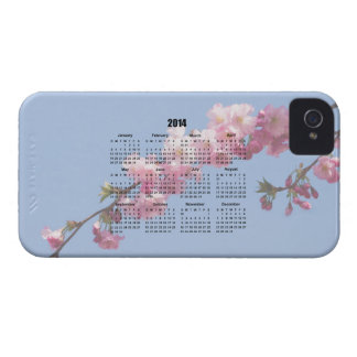 2014 calendar pink blossom flowers blue sky, gift iPhone 4 Case-Mate case