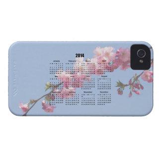 2014 calendar pink blossom flowers blue sky, gift iPhone 4 Case-Mate case
