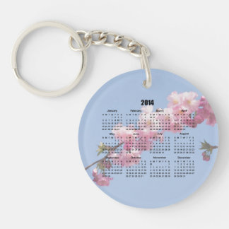 2014 Calendar Pink Blossom Flowers blue sky, gift Double-Sided Round Acrylic Key Ring
