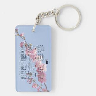 2014 Calendar Pink Blossom Flowers blue sky, gift Double-Sided Rectangular Acrylic Key Ring