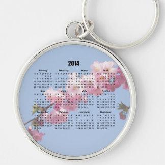 2014 Calendar pink blossom flowers blue sky, gift Key Chains