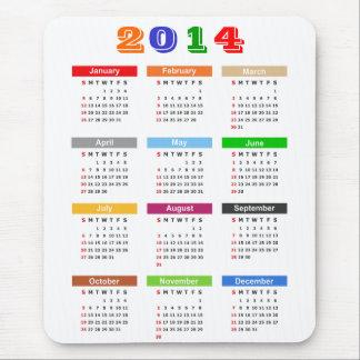 2014 Calendar - Standard Multiple Colors Theme Mouse Pad