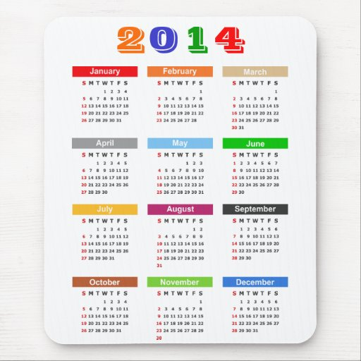 2014 Calendar - Standard Multiple Colors Theme Mousepad
