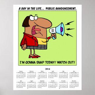 2014 Calendar Stressed Employee Poster