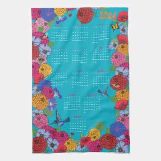 2014 Calendar Tea Towel Hummingbirds in the Garden