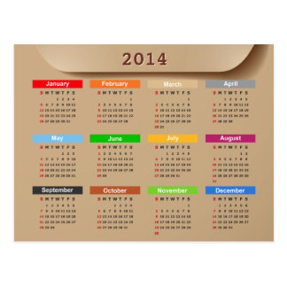 2014 Calendar with Cool Kraft Paper Style | Postcard