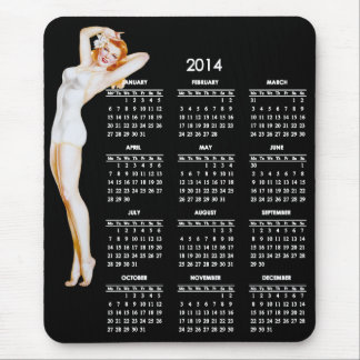 2014 Calendar with Vintage Pin-Up Girl Mouse Pad