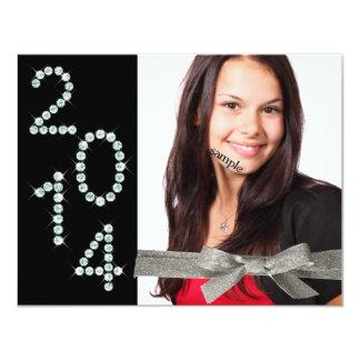 "2014 Diamond Bling Glitter Ribbon Photo Graduation 4.25"" X 5.5"" Invitation Card"