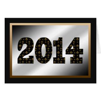 2014 Fleur de Lis Black Gold White Greeting Card