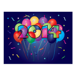 2014 Happy New Year Colorful Balloons Postcards