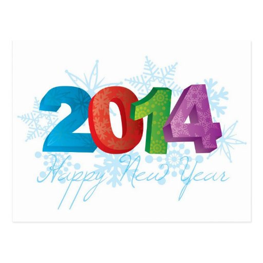 2014 Happy New Year Text Numbers with Snowflakes Postcards